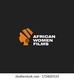 Creative african woman with movie film and festival. Simple flat logo design vector