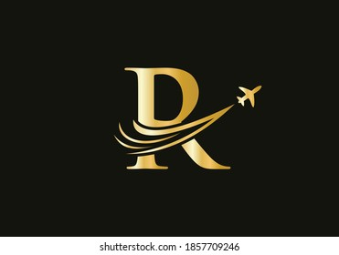 Creative Air Travel Logo Design with R letter. R letter Concept air plane and travel logo.