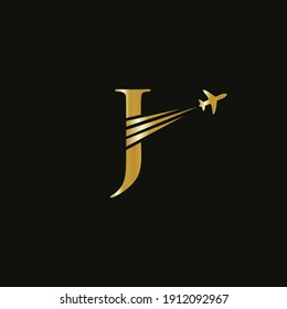 Creative Air Travel Logo Design with J letter. J letter Concept air plane and travel logo.
