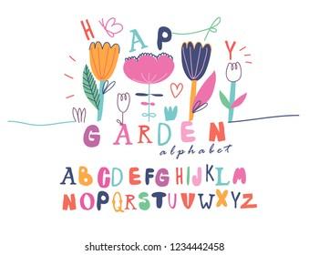 Creative Alphabet for kids. Positive letters. Seamless flowers illustration. Design for childrens.