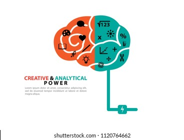 Creative and analytical power with brain concept vector background design