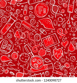 Creative anemia seamless pattern in doodle style. Hand drawn vector illustration in red and white colors isolated on editable background. Medical, healthcare and educational concept.