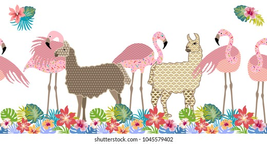 Creative animal print. Seamless vector pattern with llamas, flamingos and flowers. Trendy textile design for shirts, dresses, bags and carpets. Hawaiian collection. On white background.