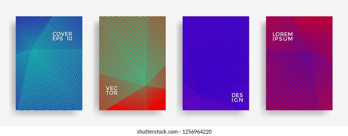 Creative annual report design vector collection. Halftone stripes edged texture cover page layout templates set. Report covers geometric design, business brochure pages corporate banners.