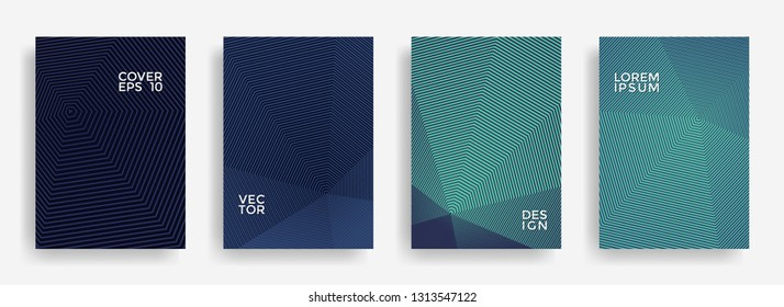 Creative annual report design vector collection. Halftone grid texture cover page layout templates set. Report covers geometric design, business brochure pages corporate banners.