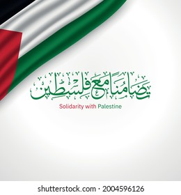 Creative Arabic Calligraphy In solidarity with Palestine With Palestine flag and White gradient background - Shutterstock ID 2004596126