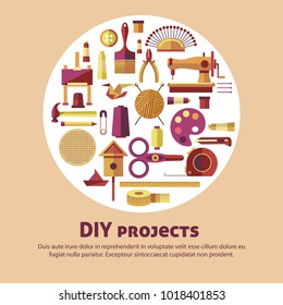 Creative art of DIY projects vector poster for kid handicraft or handmade craft workshop classes