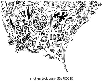 Creative art doodles hand drawn Design illustration.
