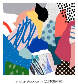 Creative art poster with different shapes and textures. Paper cut. Collage.
