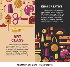 Creative art vector poster for kids DIY projects or handicraft and handmade craft workshop classes