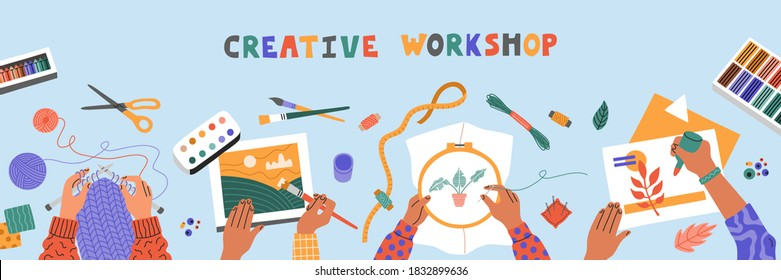 Creative art workshop for kids, drawing, embroider, knit and colored paper applique, top view on blue table. Horizontal banner template for advertising. Hand drawn illustration in flat cartoon style