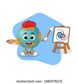 Creative Artist of Earth Cartoon Character Painting Using a Brush, Nice Design Theme For Planet Characters