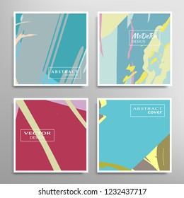 Creative artistic backgrounds set with brush strokes, hand drawn textures, hipster style. Vector template for card, invitation, voucher, certificate. Trendy design for tag, cover, fabric, brochure