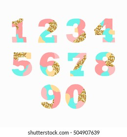 Creative artistic colorful  Arabic numerals with golden glitter texture. Isolated on white background. Vector illustration