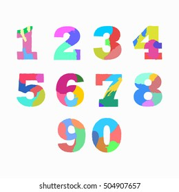 Creative artistic colorful  Arabic numerals. Isolated on white background. Vector illustration