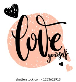 Creative artistic hand drawn card. Vector illustration. Love template. Love yourself words with hearts on call out shape textured background.