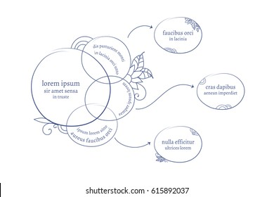 Creative artistic mind map design template with clouds, arrows and copy space areas.