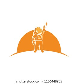 Creative Astronout illustration logo vector.Imagine