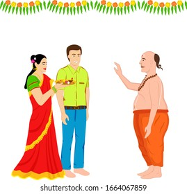 Creative and attractive design of an Indian couple and the Indian priest in traditional and ethnic wear, the priest is giving blessings to the couple.