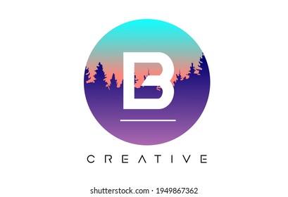 Création Logo de lettres B avec Formes vectorielles de la forêt de pins et Illustration en forme circulaire Pastel