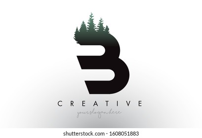 Creative B Letter Logo Idea With Pine Forest Trees. Letter B Design With Pine Tree on TopVector Illustration.