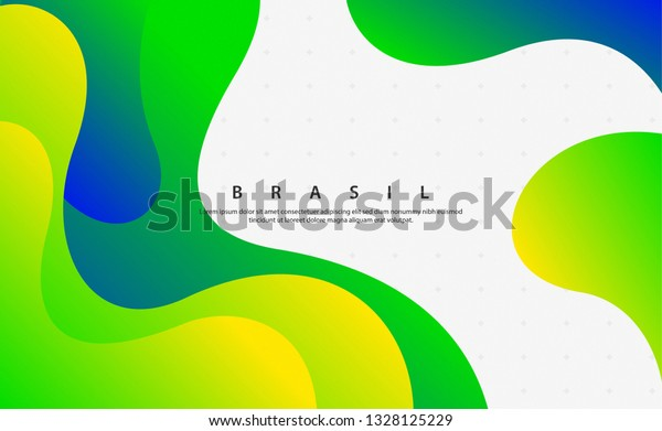 Creative background with Brasil flag colors, fluid style art for ad, promotion, invitation, party, poster, social media, web.