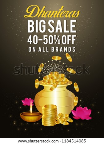 Creative background dhanteras festival india greeting stock vector creative background of dhanteras festival of india greeting card banner header with m4hsunfo