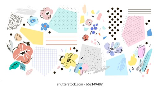 Creative background with floral elements. Collage. Design for poster, card, invitation, placard, brochure