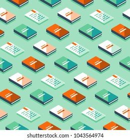 Creative background with isometric books, publicity event backdrop, minimalist pattern, literature and poetry library, educational books, storytelling concept, vector icon, flat design illustration