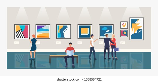 Creative background with people in art gallery vector illustration. Showroom, modern art, exposition. Artworks concept. Design for website templates, posters, banners