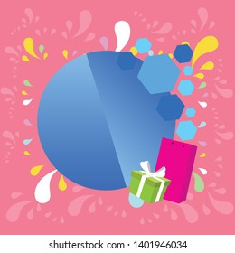 Creative Background Space for Greetings with Gift Package and Presentation Box Decorated by Bowknot of White Ribbon against Round Geometric Shape in Color
