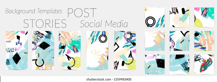 Creative backgrounds for social media. Editable story templates. Bright colored with hand drawn scribbles promotional backgrounds for social media apps.