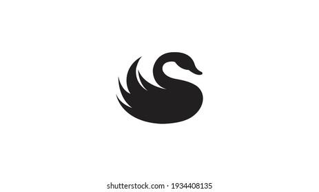 Creative Balck Swan Logo Design Vector