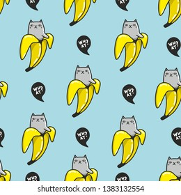 Creative bananas endless pattern with funny cats inside.  Animals in tropical fruits from the palm tree. Summer wallpaper for fabric, surface design and decoration.