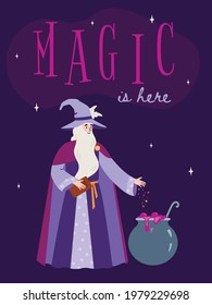 Creative banner or card design with medieval fairy tale wizard or sorcerer brewing magic potion in pot, flat cartoon vector illustration on purple background.