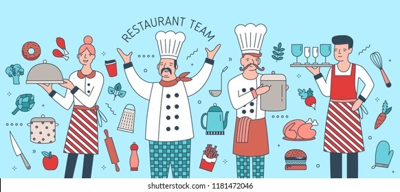 Creative banner with chief, cook, waiter and waitress surrounded by food products, meals and cooking tools. Restaurant team, personnel or staff. Colorful vector illustration in modern linear style.