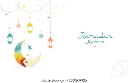 Creative Banner concept illustration crescent moon abstract origami polygonal low-polydesign shapes with Arabic Islamic Calligraphy text of ramadan kareem, the holy month.
