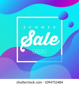 Creative Banner Design Fluid Style Colors and Shapes. Summer Sale Offer. Trendy Art for Cover, Poster, Web, Page, Social, Media, Ad, Greeting, Card