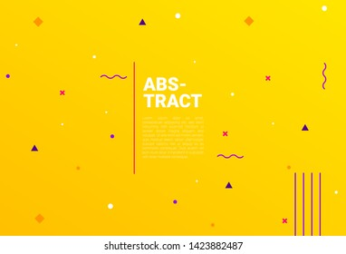 Creative banner design with Memphis style geometric elements and place for text. ideal for ad, promotion, offer, web page, social media, greeting, card, cover.