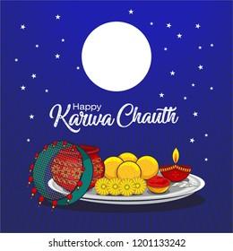 creative banner of Indian festival karwachauth celebration.