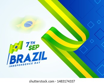 Creative banner or poster design with Brazil National flag for 7th September, Brazil Independence Day celebration concept.