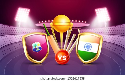 Creative banner or poster design, cricket tournament participant country Windies vs India with illustration of cricket equipments on night stadium view background.