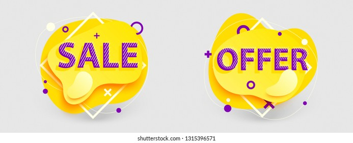 Creative banners set. Isolated Vector graphics for sale and offer. Memphis style 3D art for ad, promotion, cover, web, social media, print, market, blog.