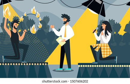 Creative Battle or Talent Show Performance with Young Man Fire Juggler and Singer Presenting on Stage. Television Program Broadcasting or Festival for Talented People. Cartoon Flat Vector Illustration