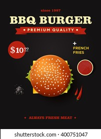 Creative bbq cheeseburger poster design. Realistic vector burger with barbecue sauce and chili pepper. Top view