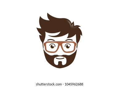 Creative Beard Hairstyle Geek Logo Symbol Design Illustration