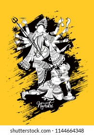 Creative and beautiful abstract for Shubh Navratri or Durga Puja with creative design Hand Drawn Sketch Vector illustration