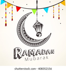 Creative and beautiful floral decorated moon with hanging lamp and stylish text for Islamic Festival Ramadan Kareem.