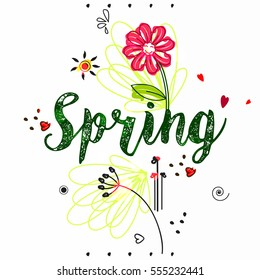 Creative, Beautiful Vector Illustration of Spring based on Line Art and Doodle Art.