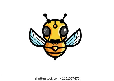 Creative Bee Robot Symbol Logo Vector Illustration